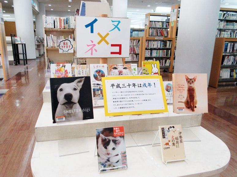 「イヌ×ネコ 七番勝負!」コーナー陳列