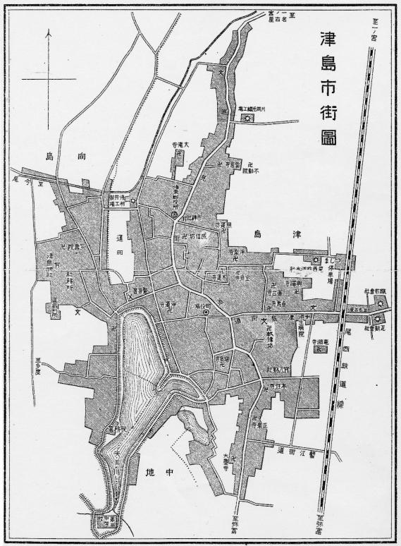 津島町地図(明治末~大正)