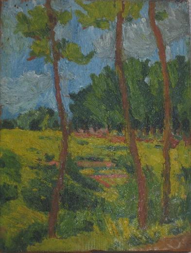 「津島千本松原」1917年 油絵・板