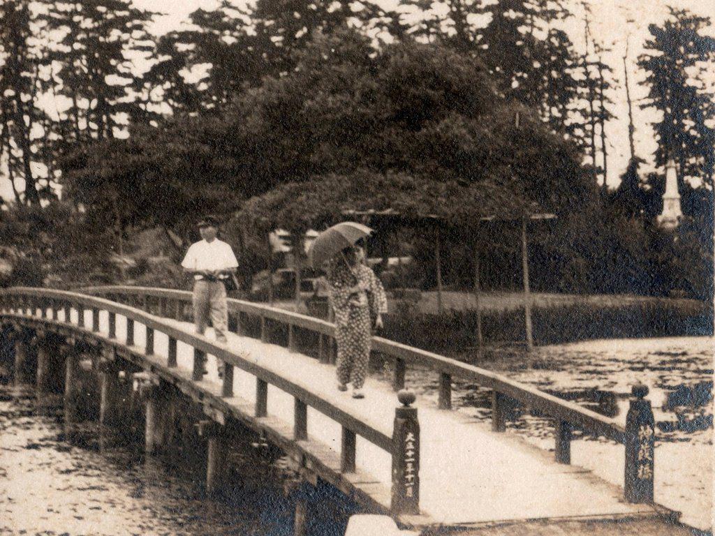 天王川公園 中之島に架かる初代神葭橋